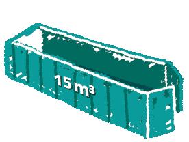Rollcontainer mit Flügeltüren 15m3