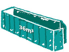 Rollcontainer mit Flügeltüren 36m3